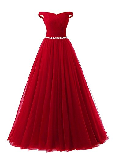 283e366340afe APXPF Women s Long Tulle Crystal Formal Prom Dress Quinceanera Dress Ball  Gown Dark Red US16