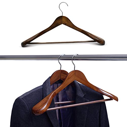 SunTrade Wide Shoulder Wooden Suit/Coat Hangers,Wood Coat Dress, Jacket, Heavy Clothes,Pant Hangers (Coffee)