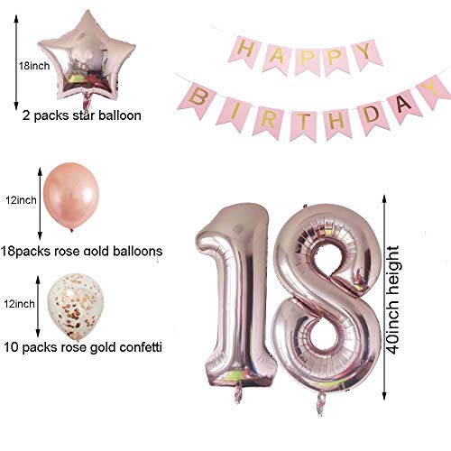 Cheeringup 18th Birthday Decorations Party Supplies Rose Gold Confetti Latex Balloons Happy