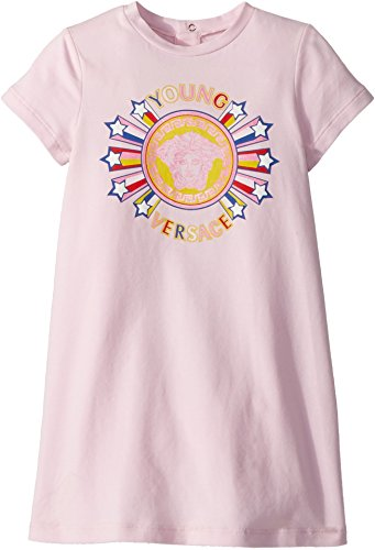 Versace Kids Baby Girl's Short Sleeve Dress With Medusa Graphic (Infant/Toddler) Pink - Versace Girl