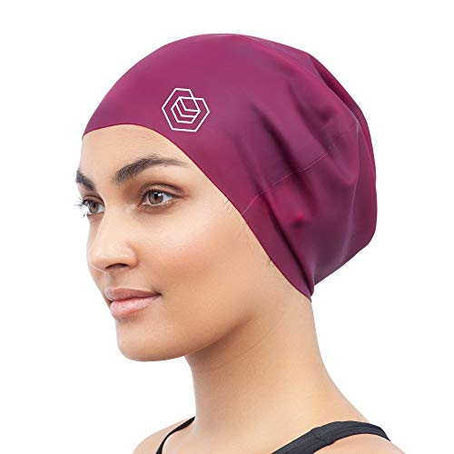 SOUL CAP - Large Swimming Cap for Long Hair | Designed for Long, Thick or Curly Hair | Adults, Kids and Children | Women & Men Silicone (Burgundy)