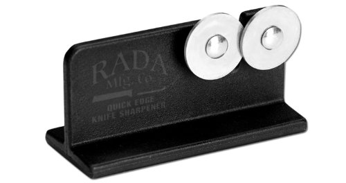 Rada Cutlery Quick Edge Knife Sharpener – Stainless Steel Wheels Made in the USA 1 KEEP KNIVES RAZOR SHARP – Keeping knives sharp is important for safety and optimal performance.  This easy to use knife sharpener will keep all your knives razor sharp. STAINLESS STEEL WHEELS – The hardened, high carbon stainless steel wheels intersect so you can sharpen both sides of the blade at the same time. PORTABLE AND STURDY – The black nylon base is easy to hold in place while sharpening.  The knife sharpener is portable making it ideal for hunters and fishermen that need to keep their field knife sharp.