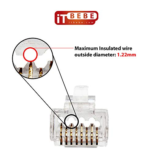 ITBEBE 50 Pieces Gold Plated End Pass Through RJ45 Cat6 Cat6a Bold Connector 23