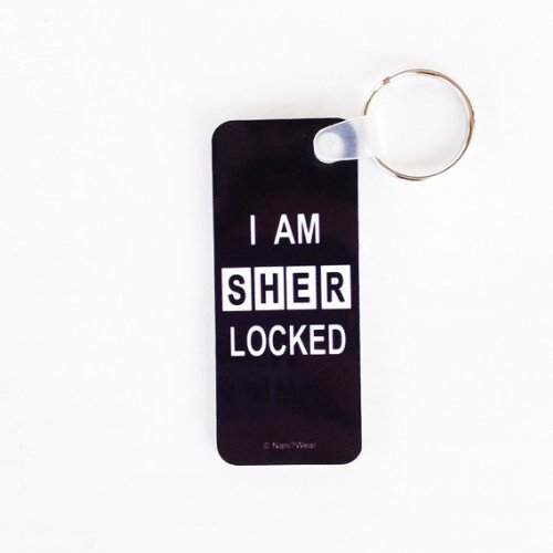 Sherlock Keychain Long Rectangle: 'I am SHERlocked'