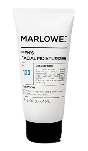 MARLOWE. No. 123 Men's Facial Moisturizer 6 oz | Lightweight Daily Face Lotion for Men | Best for Dry or Oily Skin | Made with Natural Ingredients & Anti-Aging Extracts (Best Natural Moisturizer With Spf For Oily Skin)