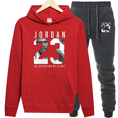 Jordan Hoodies Jordan 23 Sportwear Sets Male Sweatshirts Men Set Clothing+Pants Dark Grey Red (Jordan Women Sweaters)