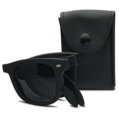 SunglassUP New Solid Color Wayfarer Folding Compact Pocket Horn Rimmed Sunglasses (Matte Black w/ - Foldable Wayfarer