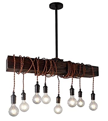 Distressed Wood Beam Chandelier Rustic Industrial Style Twisted Fabric Wire LED Edison lab