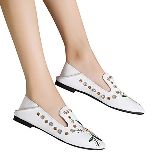 - kaifongfu Women's Printed Flat Shoes Single Shoes with Embroidered Shoes(White,40)