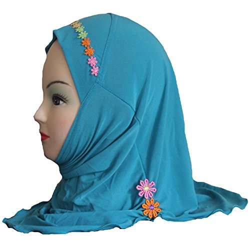Cogongrass Girls Kids Muslim Hijab Islamic Arab Scarf Shawls with Beautiful Flowers for 3 to 8 years old Girls