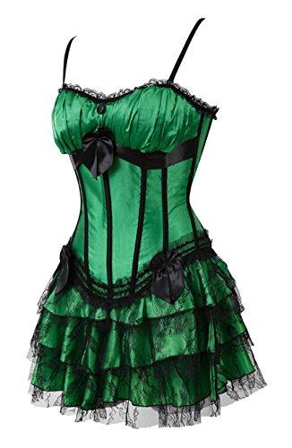 Kranchungel Women's Swan Padded Satin Corset Burlesque Petticoat TuTu Skirt Costumes Set Corsetto Bustino Verde