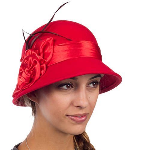 le Vintage Style Wool Cloche Hat - Red - One Size (Cloche Style Red Wool Hat)