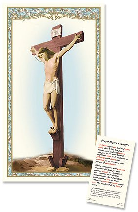 Elysian Gift Shop Silver Tone Jesus Christ 12'' Wall Crucifix -Walnut Wood Wide Cross with Antique Pewter Handcrafted Silver Corpus Includes Prayer Before a Crucifix Laminated holy Card