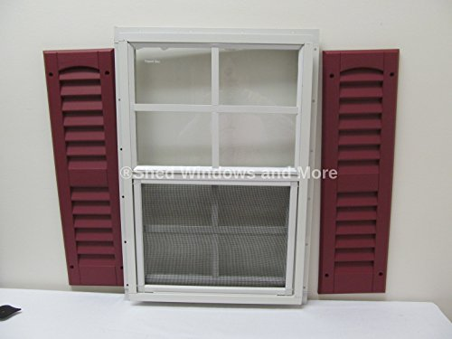 Shed Window with Shutters 14 X 21 White J-Channel Safety Glass Playhouse Window (Black) by Shed Windows and More (Image #3)