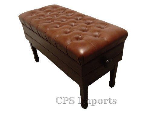 Adjustable Duet Size Genuine Leather Artist Concert Piano Bench in Walnut Satin