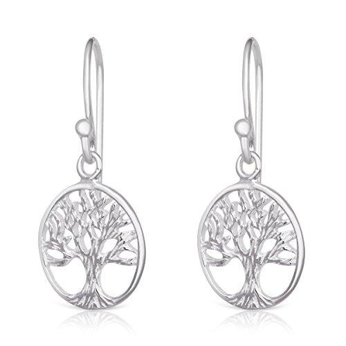 Sterling Silver Filigree Tree of Life Circular Design Rhodium Plated Spiritual Drop Dangle (Silver Filigree Tree)