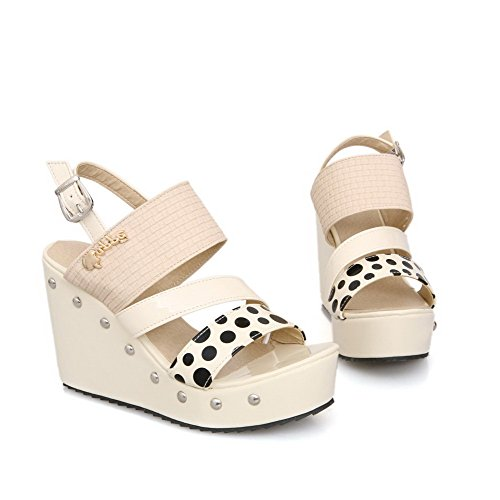 AmoonyFashion Womens PU Polka-dots Buckle Open-Toe High-Heels Sandals Apricot loT334tld