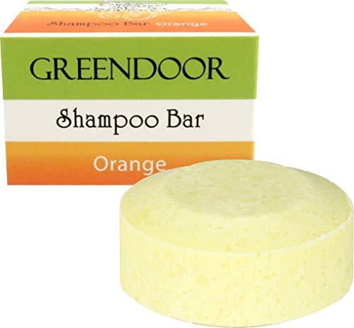 Veganer Greendoor Shampoo Bar Orange 75g, festes Haarshampoo ohne Sulfate, Naturkosmetik, Bio Shea, Bio Brokkolisamenöl, Aloe Vera plus reines Orangenöl, natürliche Haar-pflege, Haare