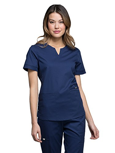 - Cherokee Luxe by Women's Notch Neck Solid Scrub Top X-Small Navy