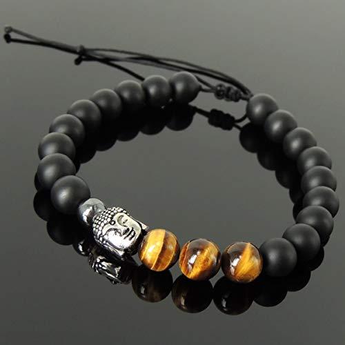 (Healing Buddhism Jewelry Handmade Braided Gemstone Bracelet Men Women Casual Wear, Meditation with Matte Black Onyx, Grade 3A Brown Tiger Eye, Hematite, Adjustable Drawstring, 925 Sterling Silver Bead)
