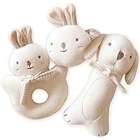 (Puppy & Baby Rabbit Rattle Set)100% Organic Cotton(No Dyeing Natural Organic...