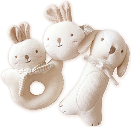 (Puppy & Baby Rabbit Rattle Set)100% Organic Cotton(No Dyeing Natural Organic Cotton)