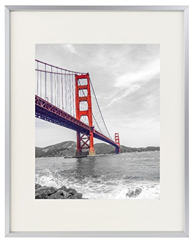 Frametory, 11x14 Aluminum Silver Photo Frame with Ivory Color Mat for 8x10 Picture & Real Glass, Metal Picture Frame Collection (Silver)