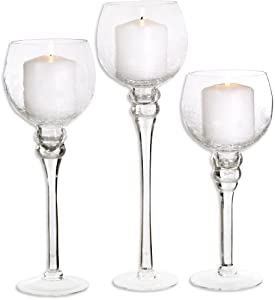 Palais Glassware Elegant Bougeoir Collection, Set of 3 Hurricane Candle Holders (Clear Crackle Finish) by Palais Glassware