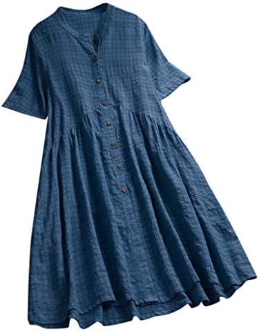 Willow S Women Vintage Casual Dress O-Neck Lace Short Sleeve Plus Size Short Dress Button Dress