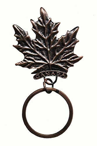 CANADA MAPLE LEAF With TITLE - Copper EMBOSSED Metal Keychain ..Size : 1 3/4