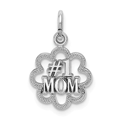 - 14k White Gold Polished Textured back Antiqued Number 1 Mom Charm - Measures 19.2x11.3mm