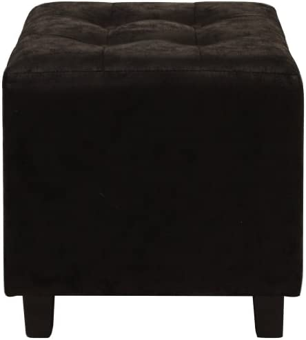 Lux Home Antique Black Faux Leather Ottoman
