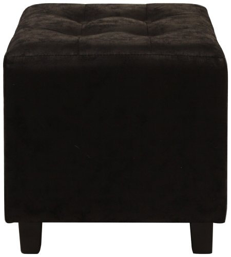 Lux Home Antique Black Faux Leather Ottoman with Button Tufted Top