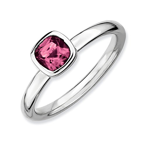 Silver Stackable Cushion Cut Pink Tourmaline Ring, Size 8