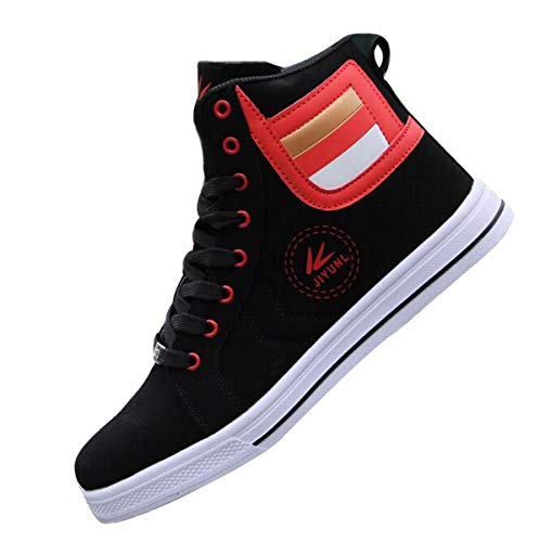 tazimall Mens Round Toe High Top Sneakers Casual Lace Up Skateboard Shoes Newest Style Red Size 10 ()