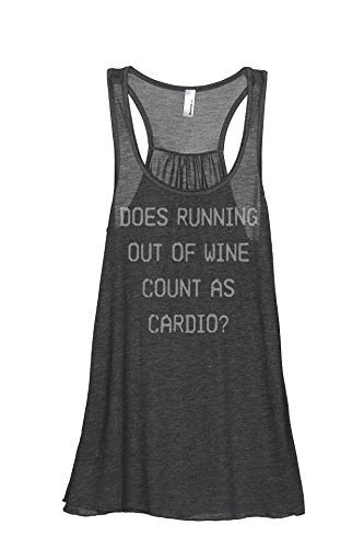 Racerback Cab (Thread Tank Does Running Out Of Wine Count As Cardio Women's Sleeveless Flowy Racerback Tank Top Charcoal Grey 2X-Large)
