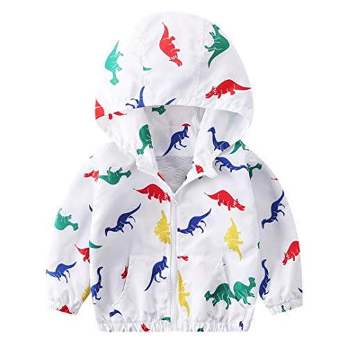 Yezike Children Baby Coat Autumn Jacket Outerwear Dinosaur Hoodie Windbreaker Clothe (12-18 Months, White)