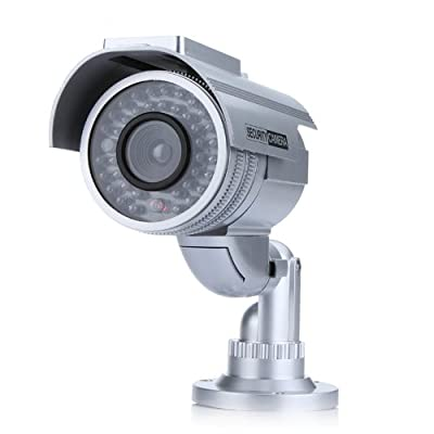 Aweek® Solar Powered Fake Camera Dummy Security Bullet Camera Imitation Surveillance Camera with Red Blinking LED Flashing Lights for Home Security System, Silver
