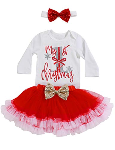 - Valentine's Day Outfit Baby Girl Clothes My First Christmas Romper Headband with Tutu Skirts Party Dresses Outfits Sets