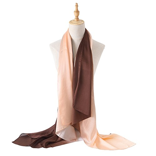 (Bellonesc Silk Scarf 100% silk Long Lightweight Sunscreen Shawls for Women (pink-coffee))