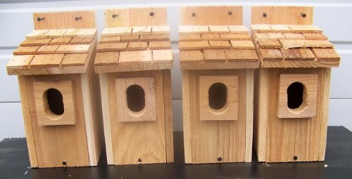 Cheap 4 Bluebird House with Cedar Shake Roof..peterson Oval Opening..cedarnest