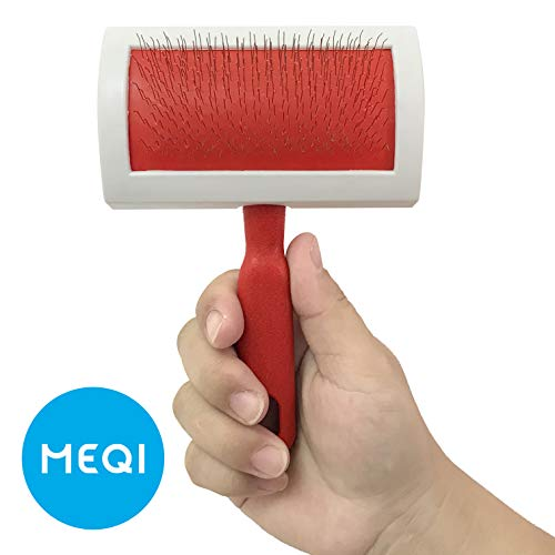 MEQI Professional Pet Slicker Rug Brush for Dogs & Cats (Red) ()