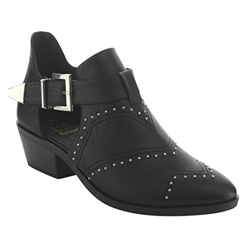 BETANI EI81 Womens Side Cut Out Buckle Strap Studded Low Heel Ankle Booties Black