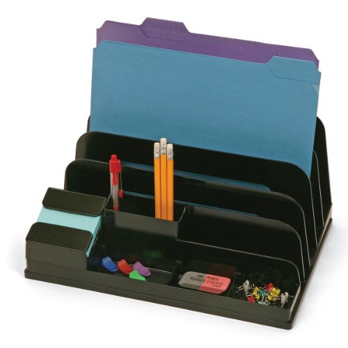 Officemate Incline Sorter and Organizer with Pop-up Note Dispenser, Black (21385)