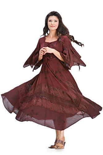 HolyClothing Belladonna Peasant Bustier Empire Waist Boho Corset Dress - X-Large - Burgundy Wine