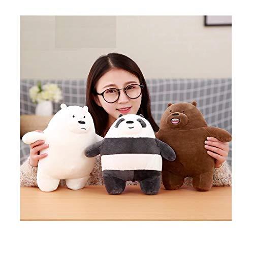 (JV Ltd. 3pcs/lot 27cm Kawaii We Bears Plush Toy Cartoon Bear Stuffed Gray White Panda Doll Kids Love Birthday)