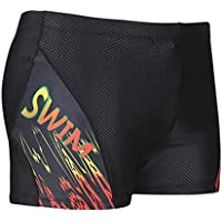 TOOGOO Men'S Swimwear Swimsuit Boxer Shorts Beach Shorts Wearable Quick-Drying Swimwear Black With Red 4Xl-Code
