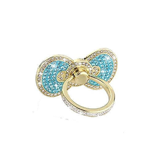 Universal Cell phone holder,Sunvy New Design Luxury Full Diamond Buttefly Ring Grip Stand Car Mounts for Iphone, Ipad, Samsung HTC Nokia Smartphones Great Gift (Blue)
