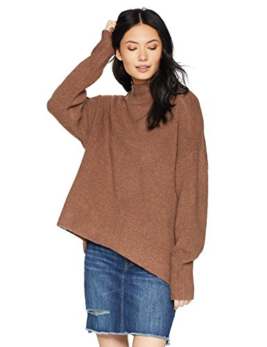 Cable Stitch Women's Mock Neck Cozy Sweater Medium Caramel