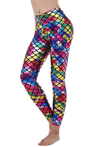 - BLACK JACKY Women's Sexy Mermaid Fish Scale Hologram Stretch Soft Shine Leggings (Multicoloured, S)